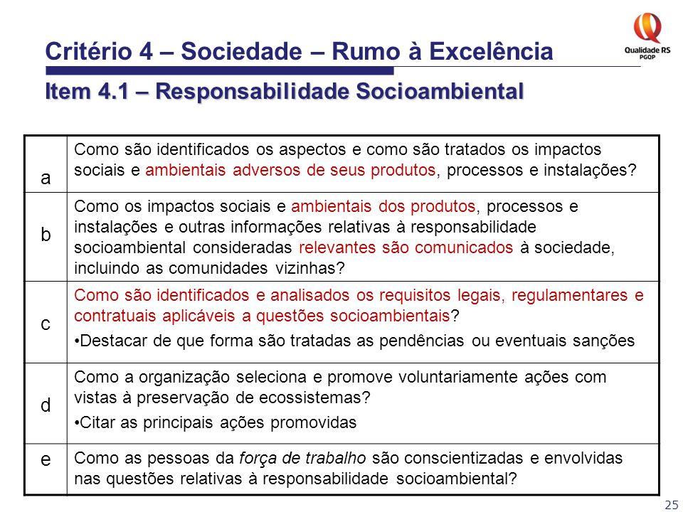 25 a Como são identificados os aspectos e como são tratados os impactos sociais e ambientais adversos de seus produtos, processos e instalações? b Com