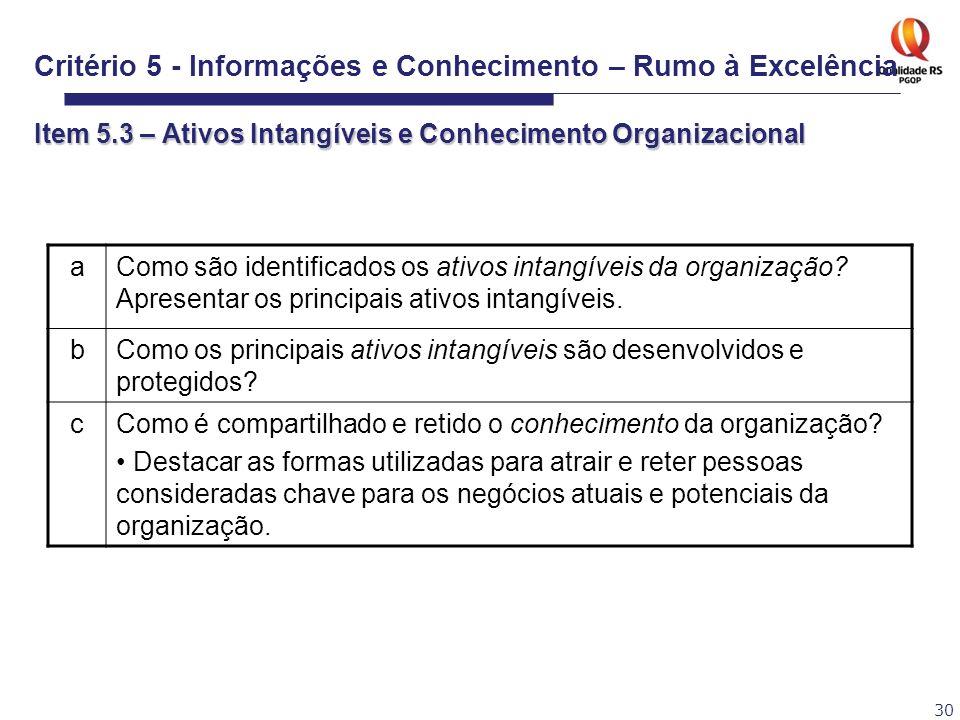 30 aComo são identificados os ativos intangíveis da organização? Apresentar os principais ativos intangíveis. bComo os principais ativos intangíveis s