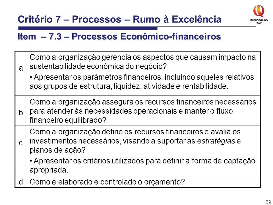 39 a Como a organização gerencia os aspectos que causam impacto na sustentabilidade econômica do negócio? Apresentar os parâmetros financeiros, inclui