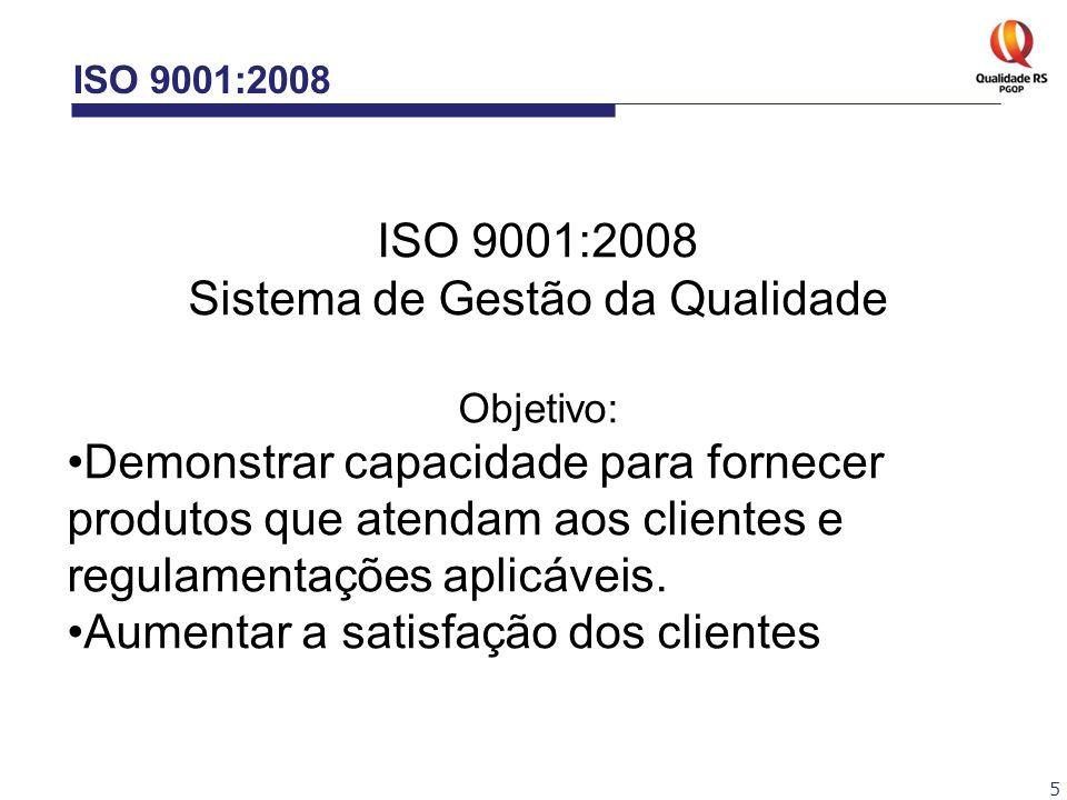 5 ISO 9001:2008 Sistema de Gestão da Qualidade Objetivo: Demonstrar capacidade para fornecer produtos que atendam aos clientes e regulamentações aplic