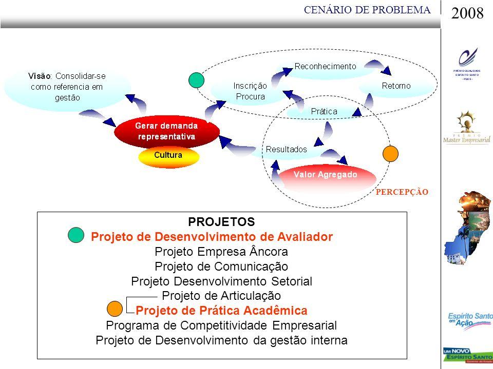CENÁRIO DE PROBLEMA 2008 PROJETOS Projeto de Desenvolvimento de Avaliador Projeto Empresa Âncora Projeto de Comunicação Projeto Desenvolvimento Setorial Projeto de Articulação Projeto de Prática Acadêmica Programa de Competitividade Empresarial Projeto de Desenvolvimento da gestão interna PERCEPÇÃO