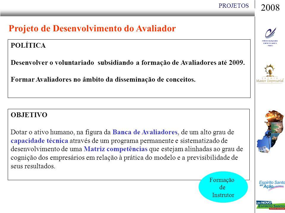 PROJETOS POLÍTICA Desenvolver o voluntariado subsidiando a formação de Avaliadores até 2009.
