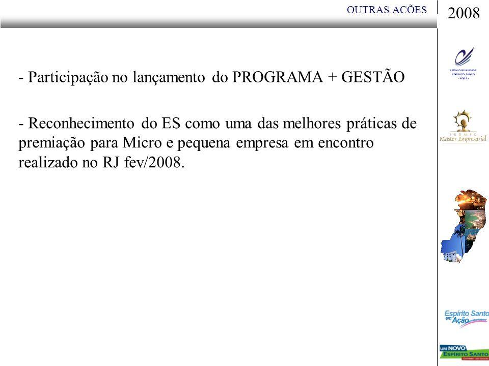 OUTRAS AÇÕES - Participação no lançamento do PROGRAMA + GESTÃO - Reconhecimento do ES como uma das melhores práticas de premiação para Micro e pequena empresa em encontro realizado no RJ fev/2008.
