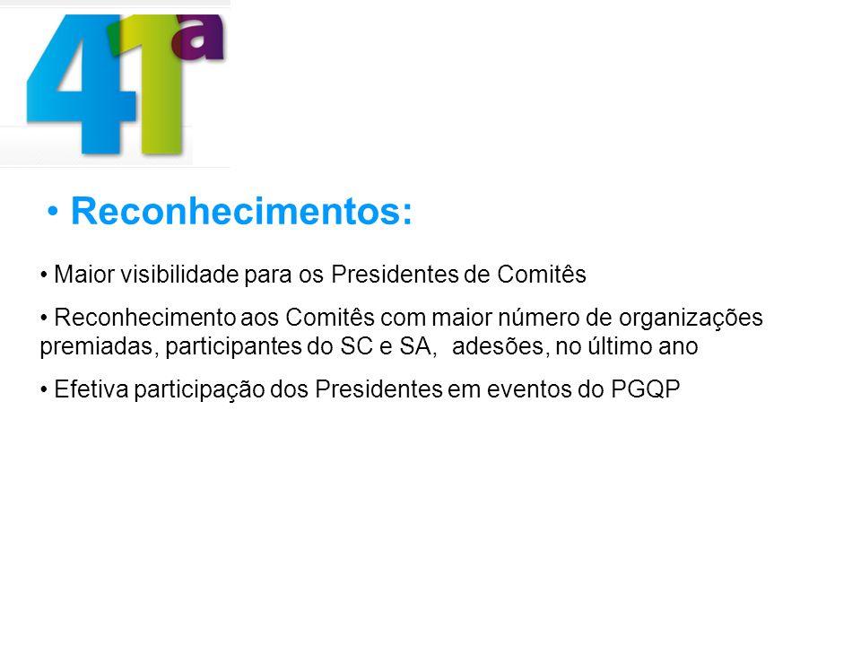 Reconhecimentos: Maior visibilidade para os Presidentes de Comitês Reconhecimento aos Comitês com maior número de organizações premiadas, participante