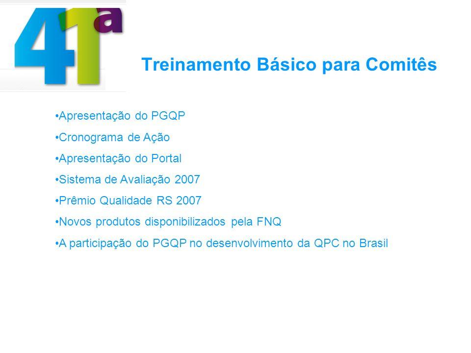 Treinamento Básico para Comitês Apresentação do PGQP Cronograma de Ação Apresentação do Portal Sistema de Avaliação 2007 Prêmio Qualidade RS 2007 Novos produtos disponibilizados pela FNQ A participação do PGQP no desenvolvimento da QPC no Brasil