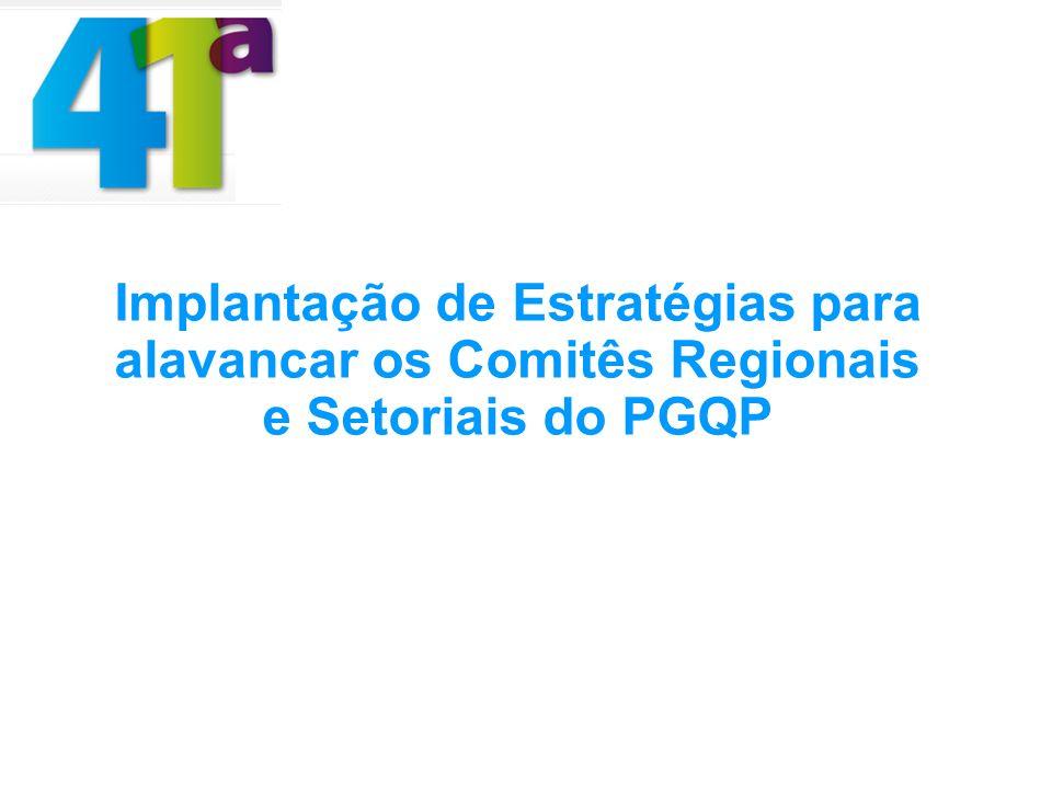 Implantação de Estratégias para alavancar os Comitês Regionais e Setoriais do PGQP