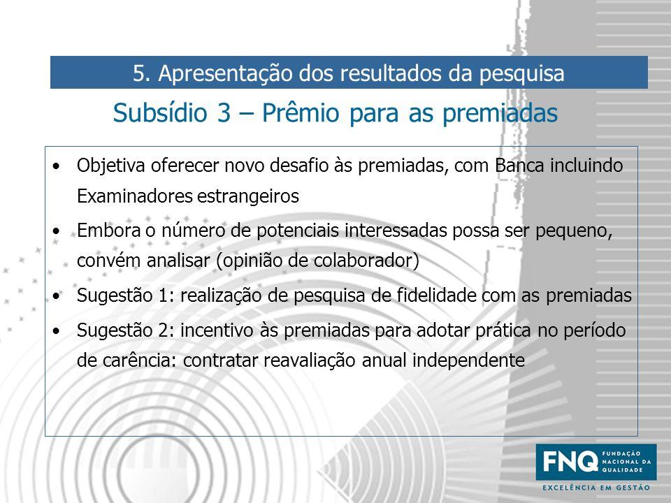 Subsídio 3 – Prêmio para as premiadas Objetiva oferecer novo desafio às premiadas, com Banca incluindo Examinadores estrangeiros Embora o número de po