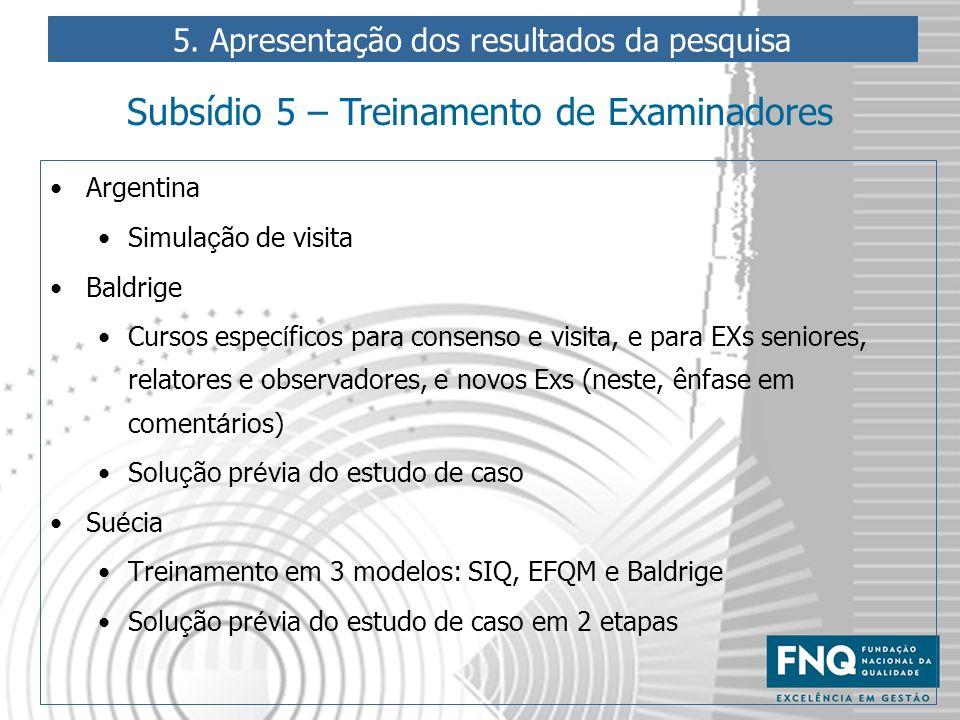 Argentina Simula ç ão de visita Baldrige Cursos espec í ficos para consenso e visita, e para EXs seniores, relatores e observadores, e novos Exs (nest