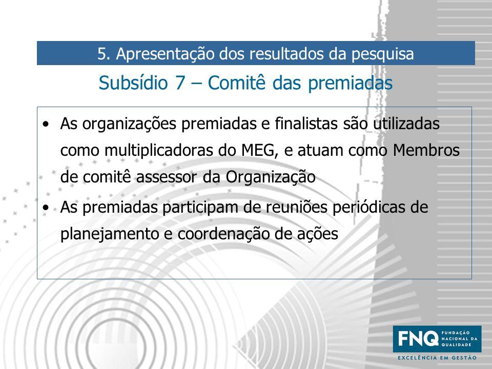 Subsídio 7 – Comitê das premiadas As organizações premiadas e finalistas são utilizadas como multiplicadoras do MEG, e atuam como Membros de comitê as
