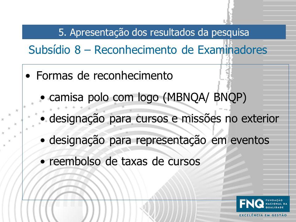 Subsídio 8 – Reconhecimento de Examinadores Formas de reconhecimento camisa polo com logo (MBNQA/ BNQP) designação para cursos e missões no exterior d