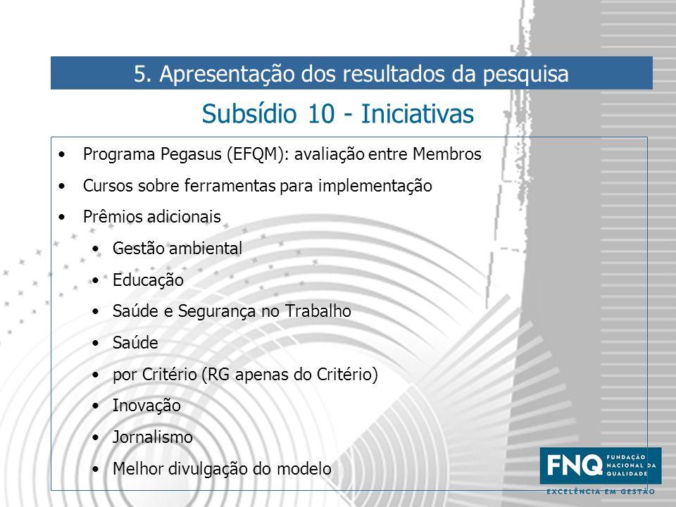 Subsídio 10 - Iniciativas Programa Pegasus (EFQM): avaliação entre Membros Cursos sobre ferramentas para implementação Prêmios adicionais Gestão ambie
