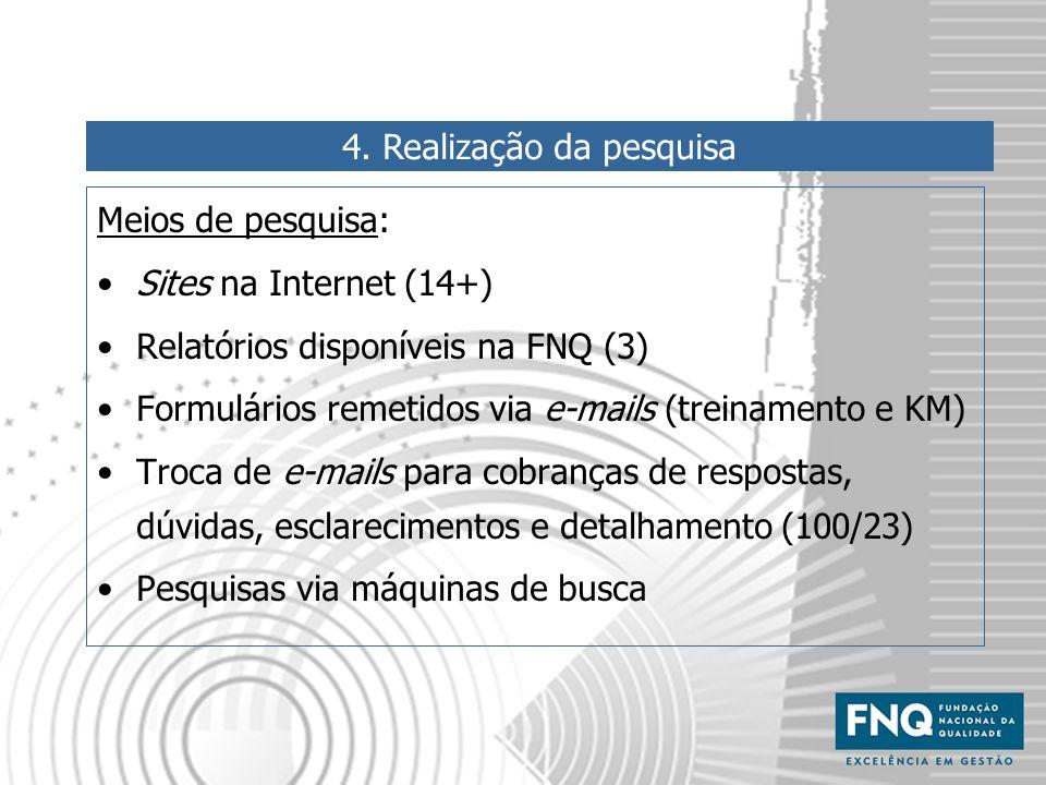 4. Realização da pesquisa Meios de pesquisa: Sites na Internet (14+) Relatórios disponíveis na FNQ (3) Formulários remetidos via e-mails (treinamento