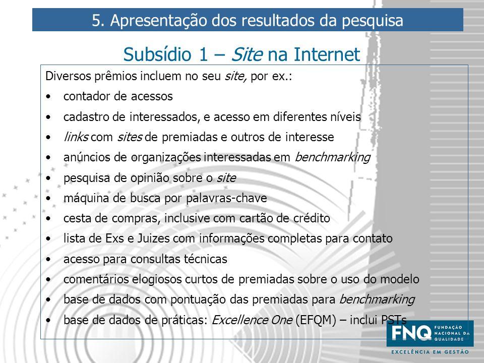 Subsídio 1 – Site na Internet Diversos prêmios incluem no seu site, por ex.: contador de acessos cadastro de interessados, e acesso em diferentes níve