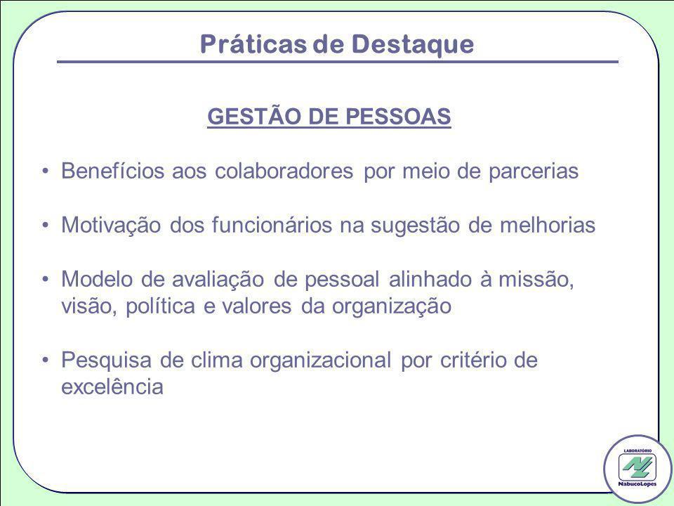 Práticas de Destaque GESTÃO DE PESSOAS Benefícios aos colaboradores por meio de parcerias Motivação dos funcionários na sugestão de melhorias Modelo d