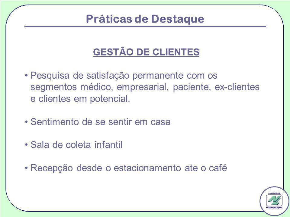 Práticas de Destaque GESTÃO DE CLIENTES Pesquisa de satisfação permanente com os segmentos médico, empresarial, paciente, ex-clientes e clientes em po