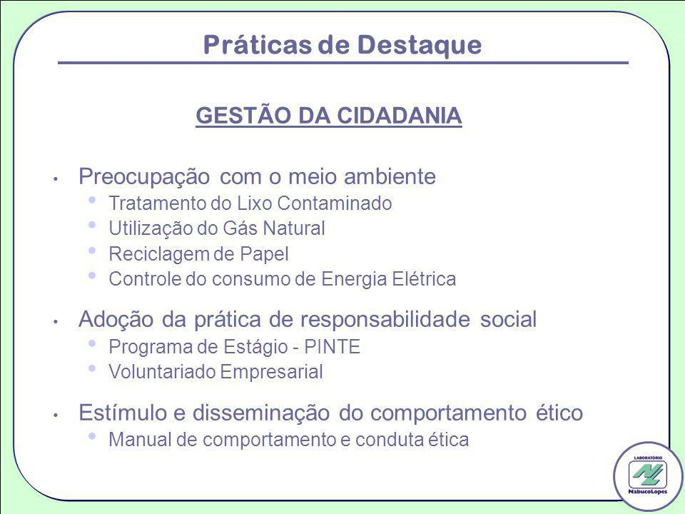 Práticas de Destaque GESTÃO DA CIDADANIA Preocupação com o meio ambiente Tratamento do Lixo Contaminado Utilização do Gás Natural Reciclagem de Papel