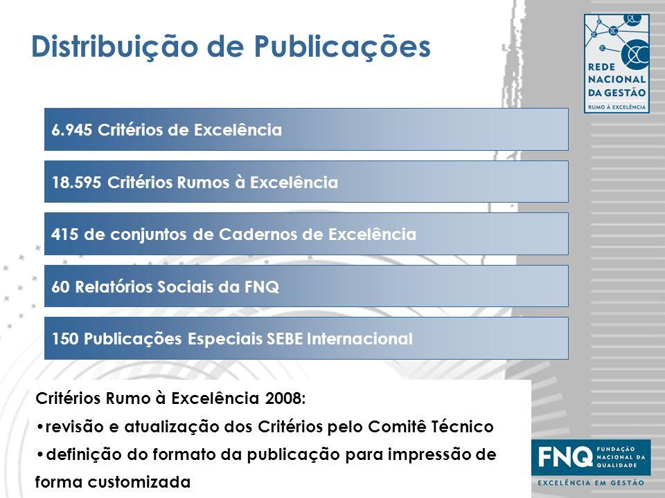 11 Distribuição de Publicações Critérios Rumo à Excelência 2008: revisão e atualização dos Critérios pelo Comitê Técnico definição do formato da publi