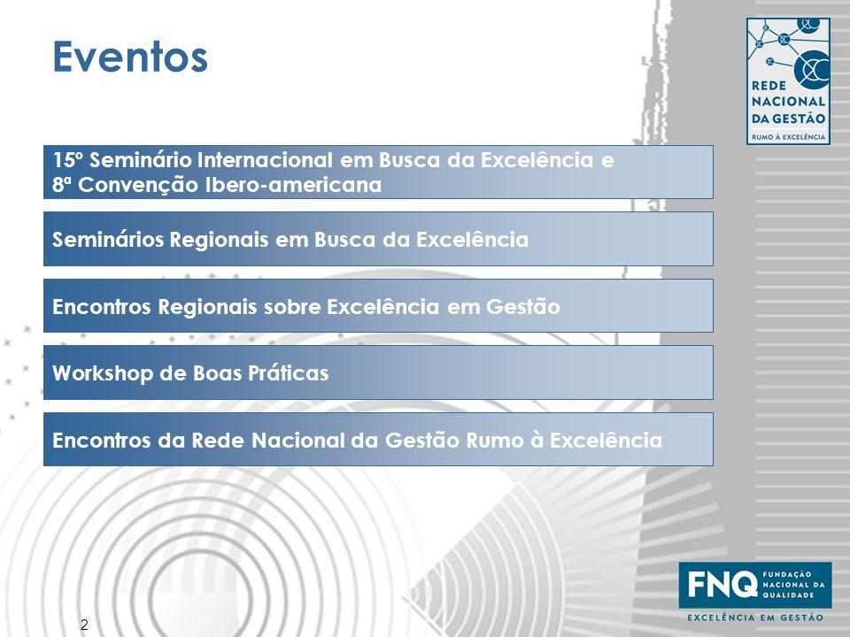 2 Eventos 15º Seminário Internacional em Busca da Excelência e 8ª Convenção Ibero-americana Seminários Regionais em Busca da Excelência Encontros Regi