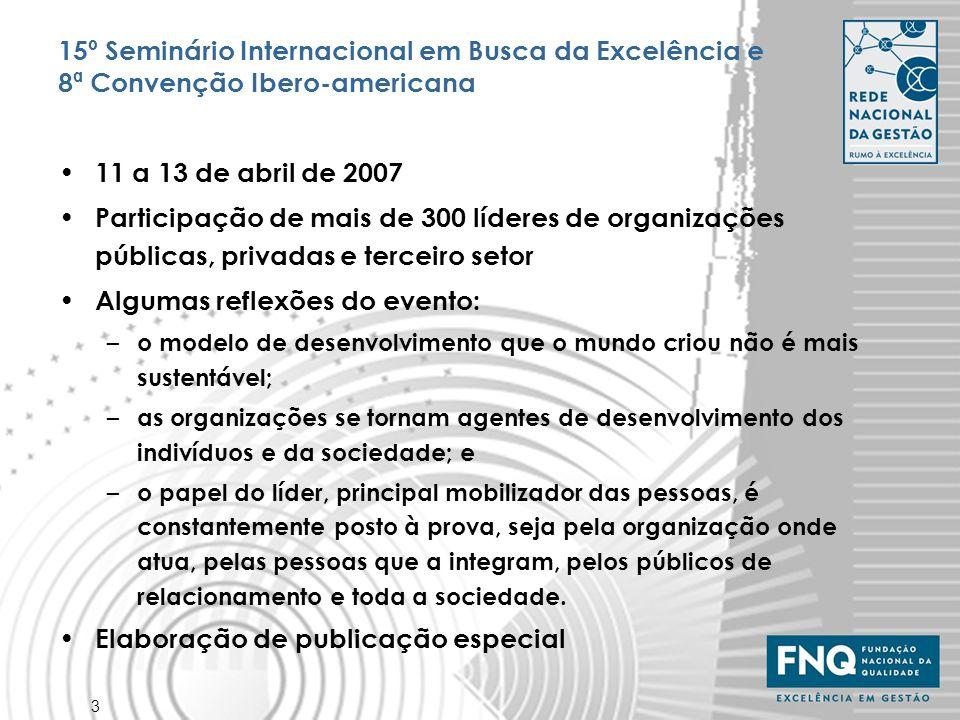 4 Seminários Regionais em Busca da Excelência Objetivo: disseminar o Modelo de Excelência da Gestão por meio de apresentações das melhores práticas e dos resultados das organizações reconhecidas nos prêmios regionais e setoriais, prêmios de competitividade para MPEs Realização: FNQ, Programas Regionais e Setoriais, Sebrae Nacional, Sebrae UFs, Gespública e MBC – SEBE Manaus (AM), com 85 participantes – SEBE Maceió (AL), com 282 participantes – SEBE Brasília (DF), com 231 participantes – SEBE Palmas (TO), com 157 participantes – Próximos seminários previstos: Pernambuco, Santa Catarina, Goiás, São Paulo (interior) Integração com projetos do Fórum QPC: (3) Caravanas da Qualidade, (9) Integração dos Prêmios MPEs e Rede Rumo à Excelência, (13) Integração dos Programas com GESPÚBLICA