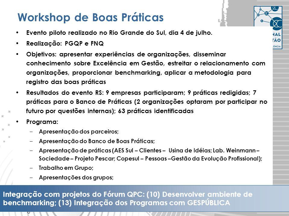 6 Workshop de Boas Práticas Evento piloto realizado no Rio Grande do Sul, dia 4 de julho. Realização: PGQP e FNQ Objetivos: apresentar experiências de