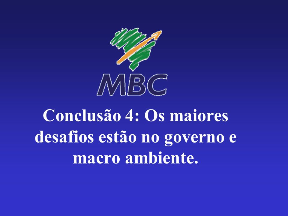 Conclusão 4: Os maiores desafios estão no governo e macro ambiente.