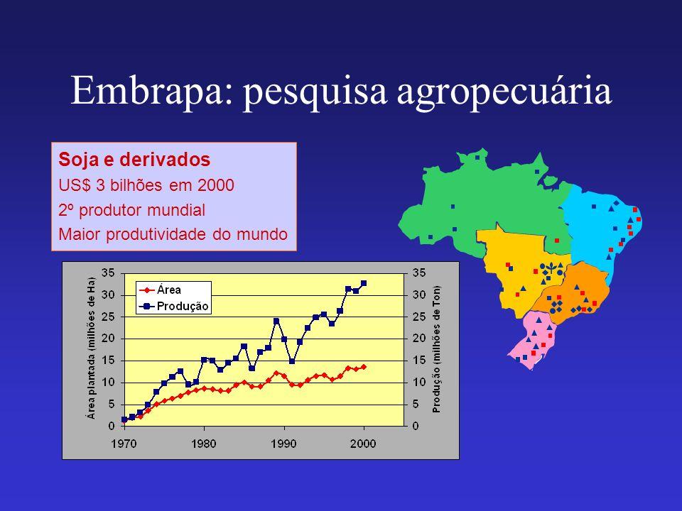 Embrapa: pesquisa agropecuária Soja e derivados US$ 3 bilhões em 2000 2º produtor mundial Maior produtividade do mundo
