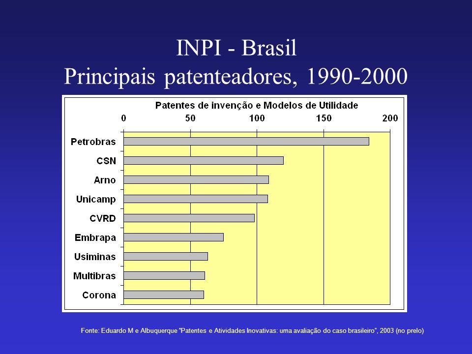 INPI - Brasil Principais patenteadores, 1990-2000 Fonte: Eduardo M e Albuquerque Patentes e Atividades Inovativas: uma avaliação do caso brasileiro, 2