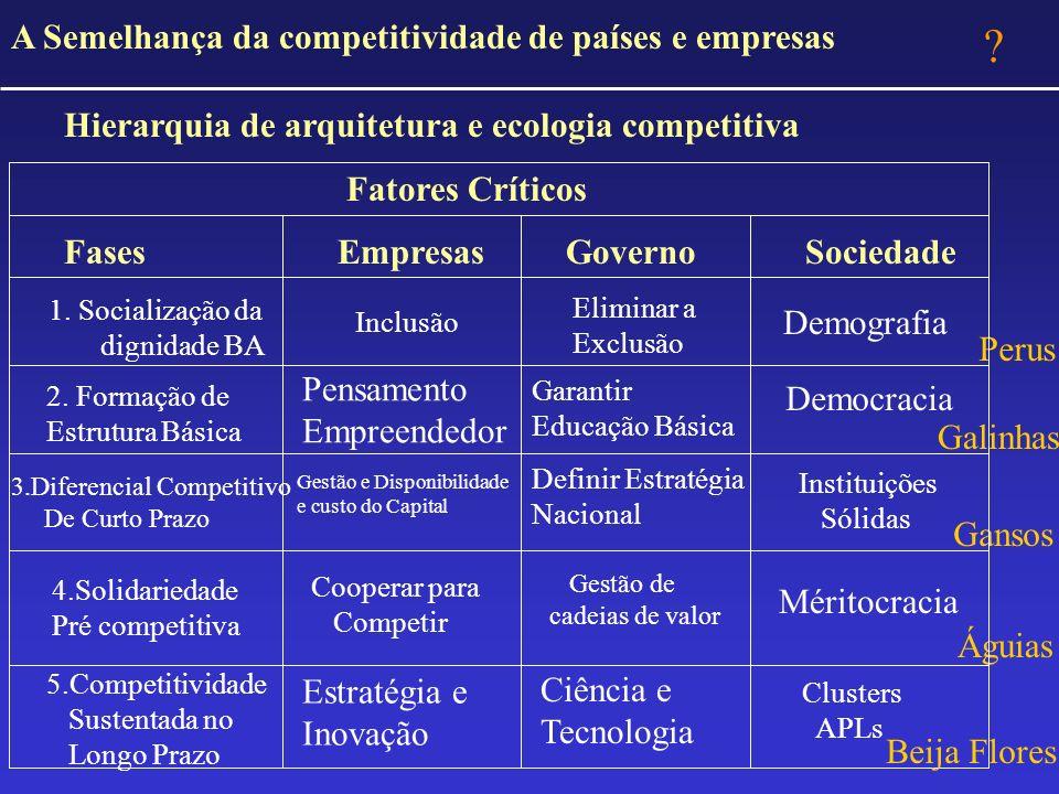 A Semelhança da competitividade de países e empresas Hierarquia de arquitetura e ecologia competitiva Fatores Críticos Fases Empresas GovernoSociedade