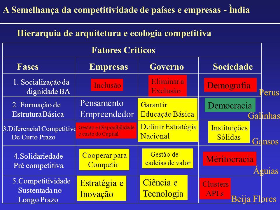 A Semelhança da competitividade de países e empresas - Ìndia Hierarquia de arquitetura e ecologia competitiva Fatores Críticos Fases Empresas GovernoS