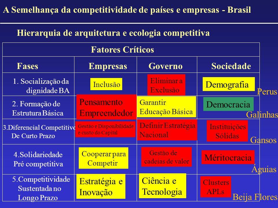 A Semelhança da competitividade de países e empresas - Brasil Hierarquia de arquitetura e ecologia competitiva Fatores Críticos Fases Empresas Governo