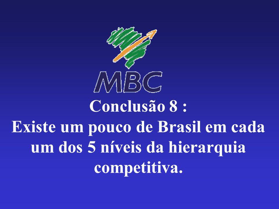 Conclusão 8 : Existe um pouco de Brasil em cada um dos 5 níveis da hierarquia competitiva.