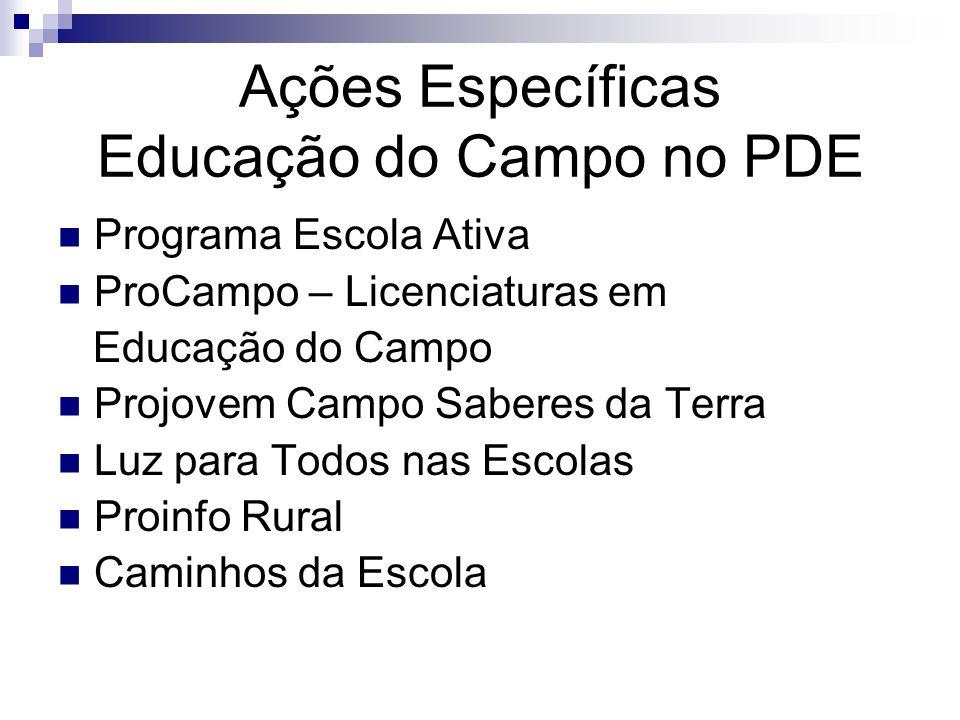 Ações Específicas Educação do Campo no PDE Programa Escola Ativa ProCampo – Licenciaturas em Educação do Campo Projovem Campo Saberes da Terra Luz par