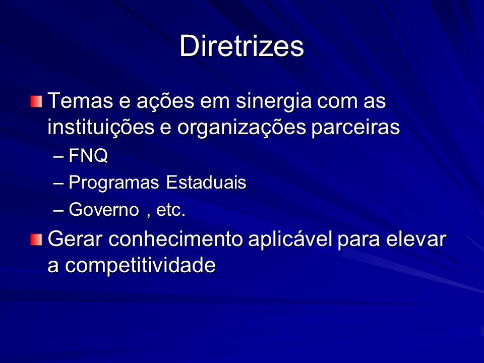 Diretrizes Temas e ações em sinergia com as instituições e organizações parceiras –FNQ –Programas Estaduais –Governo, etc. Gerar conhecimento aplicáve