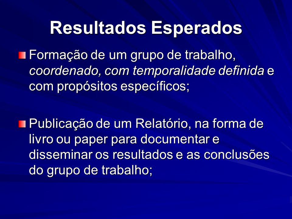 Resultados Esperados Formação de um grupo de trabalho, coordenado, com temporalidade definida e com propósitos específicos; Publicação de um Relatório