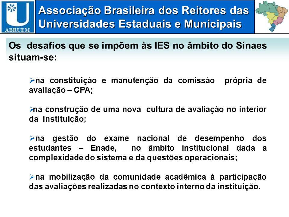 Associação Brasileira dos Reitores das Universidades Estaduais e Municipais na constituição e manutenção da comissão própria de avaliação – CPA; na co