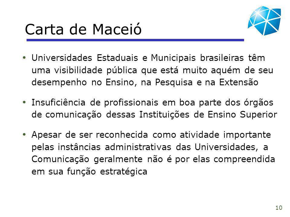 10 Carta de Maceió Universidades Estaduais e Municipais brasileiras têm uma visibilidade pública que está muito aquém de seu desempenho no Ensino, na