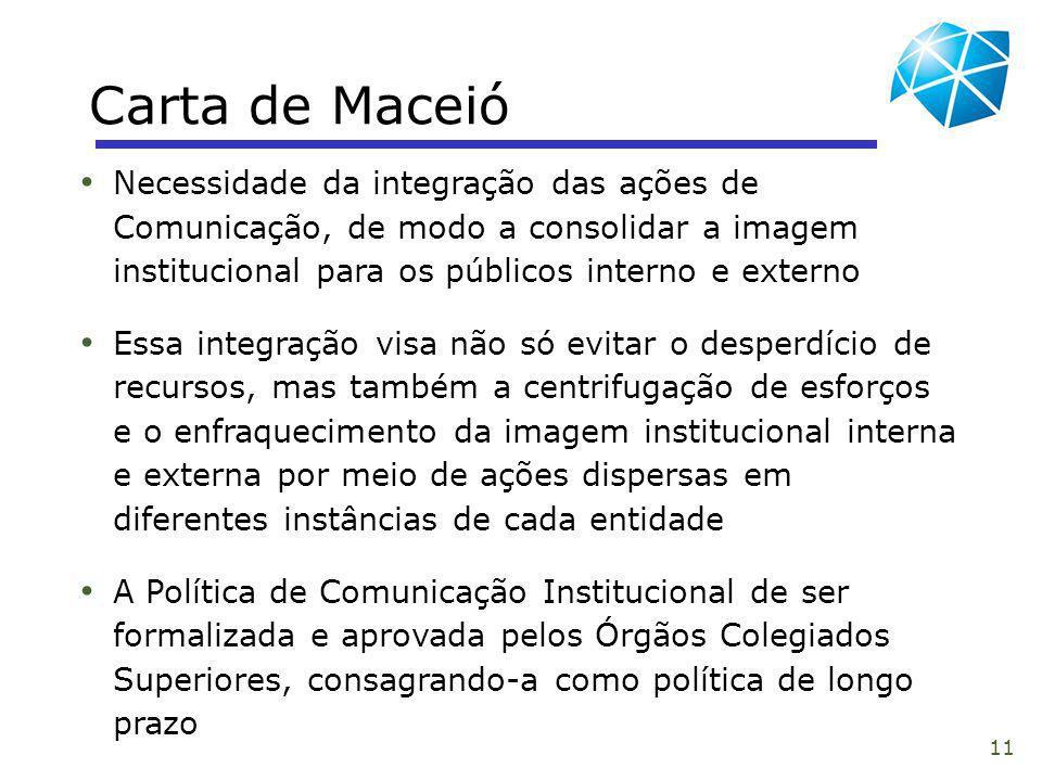 11 Carta de Maceió Necessidade da integração das ações de Comunicação, de modo a consolidar a imagem institucional para os públicos interno e externo