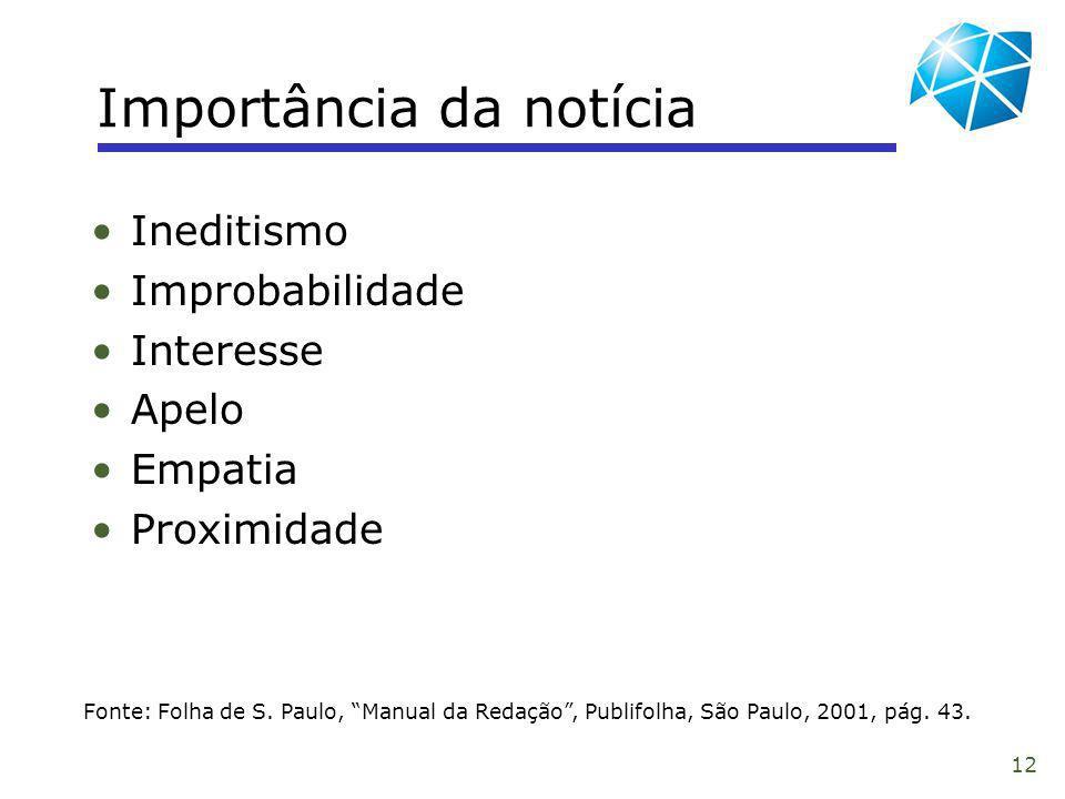 12 Importância da notícia Fonte: Folha de S. Paulo, Manual da Redação, Publifolha, São Paulo, 2001, pág. 43. Ineditismo Improbabilidade Interesse Apel