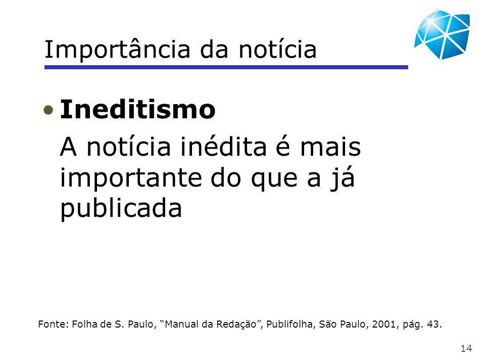 14 Importância da notícia Fonte: Folha de S. Paulo, Manual da Redação, Publifolha, São Paulo, 2001, pág. 43. Ineditismo A notícia inédita é mais impor