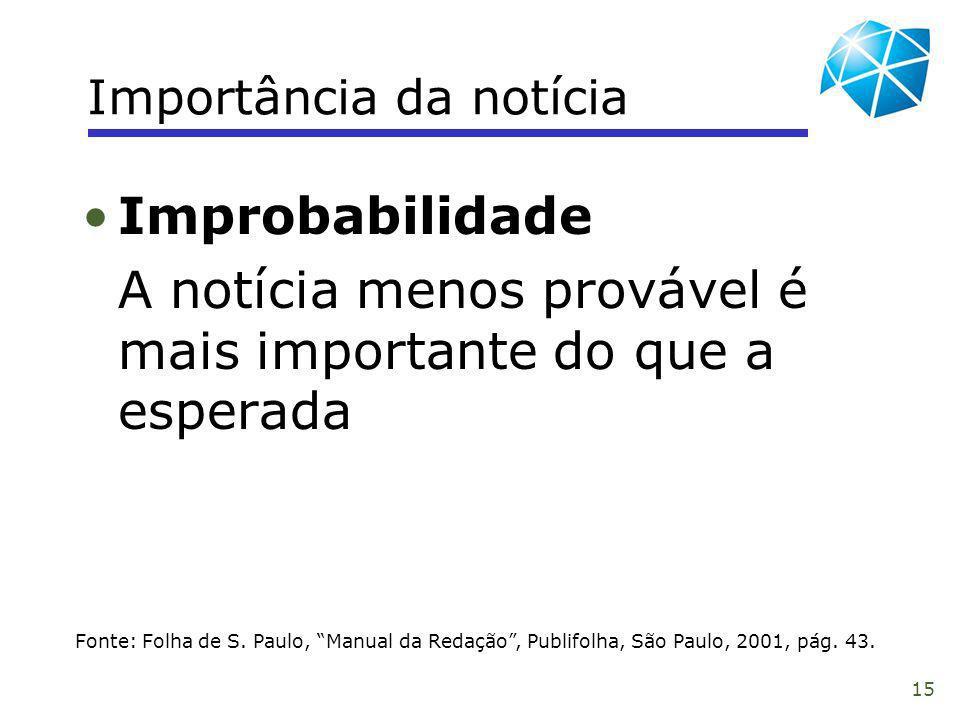 15 Importância da notícia Fonte: Folha de S. Paulo, Manual da Redação, Publifolha, São Paulo, 2001, pág. 43. Improbabilidade A notícia menos provável