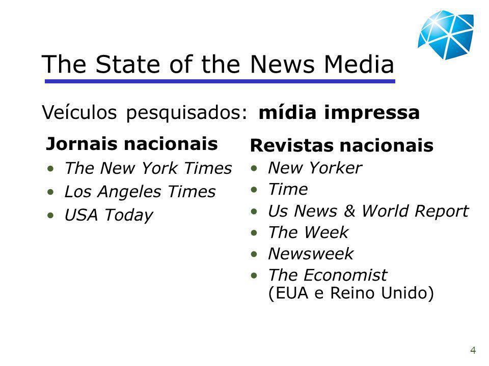 4 The State of the News Media Jornais nacionais The New York Times Los Angeles Times USA Today Veículos pesquisados: mídia impressa Revistas nacionais