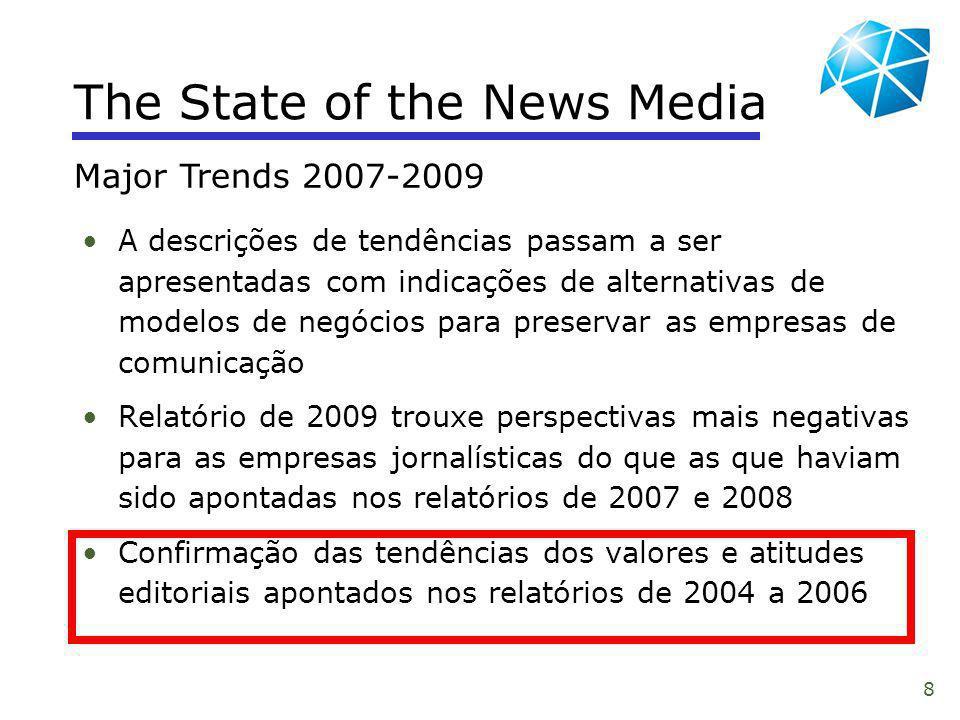 8 The State of the News Media A descrições de tendências passam a ser apresentadas com indicações de alternativas de modelos de negócios para preserva
