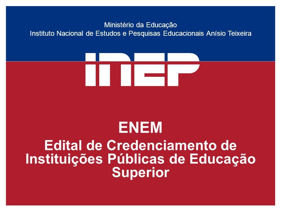 Ministério da Educação Instituto Nacional de Estudos e Pesquisas Educacionais Anísio Teixeira ENEM Edital de Credenciamento de Instituições Públicas d