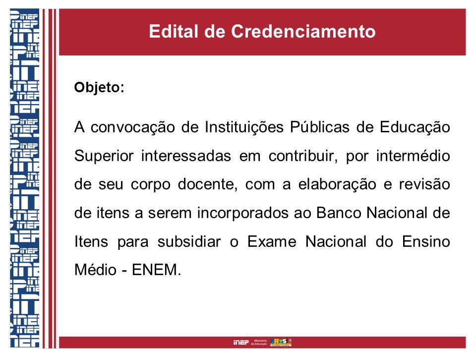 Edital de Credenciamento Objeto: A convocação de Instituições Públicas de Educação Superior interessadas em contribuir, por intermédio de seu corpo do