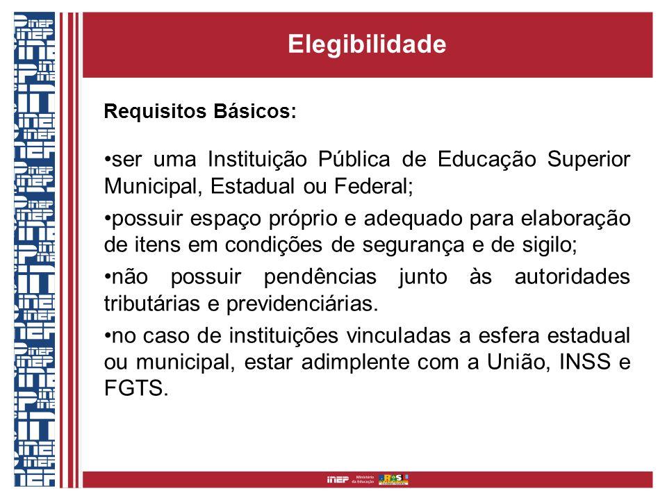 Elegibilidade Requisitos Básicos: ser uma Instituição Pública de Educação Superior Municipal, Estadual ou Federal; possuir espaço próprio e adequado p