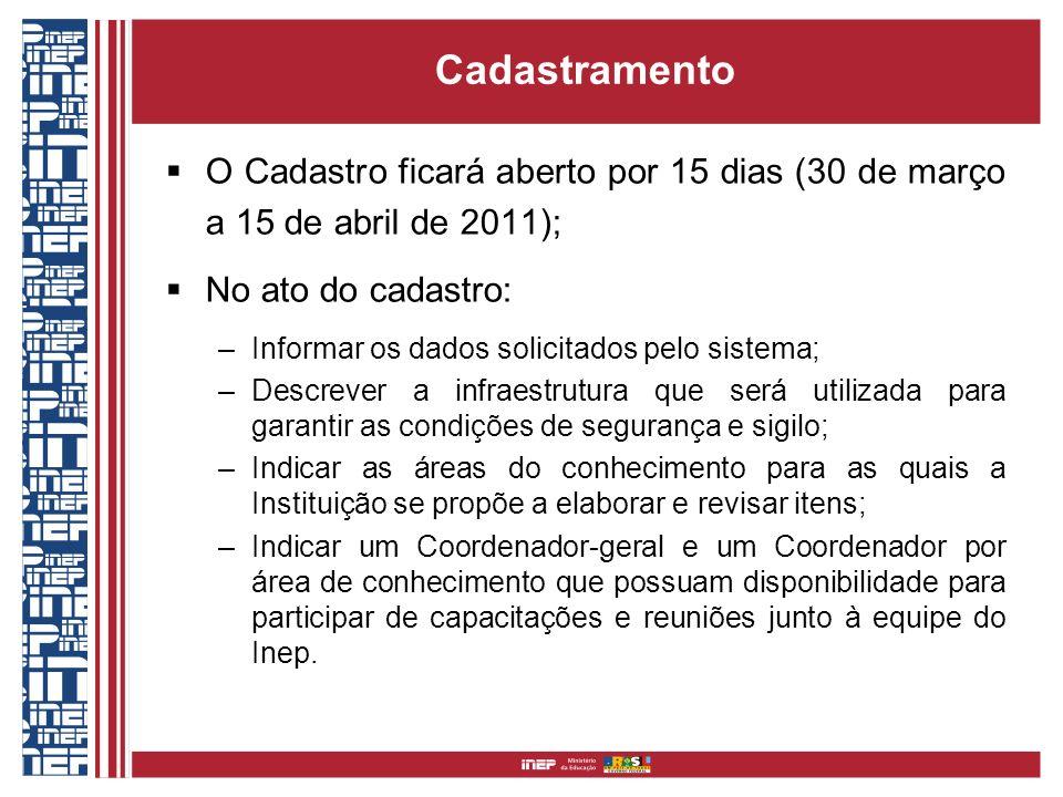 Cadastramento O Cadastro ficará aberto por 15 dias (30 de março a 15 de abril de 2011); No ato do cadastro: –Informar os dados solicitados pelo sistem