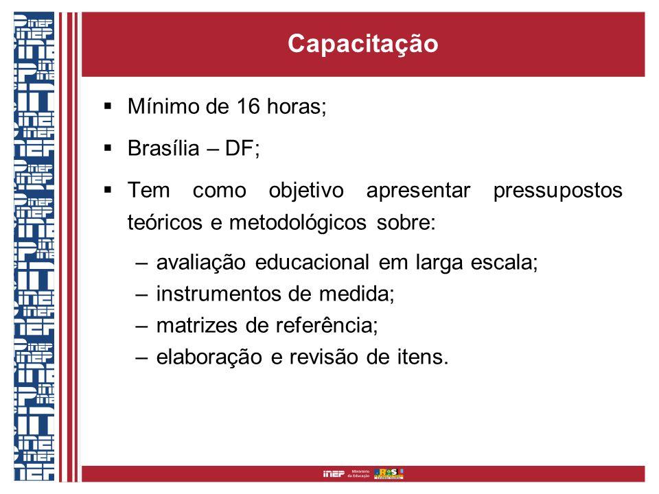 Capacitação Mínimo de 16 horas; Brasília – DF; Tem como objetivo apresentar pressupostos teóricos e metodológicos sobre: –avaliação educacional em lar