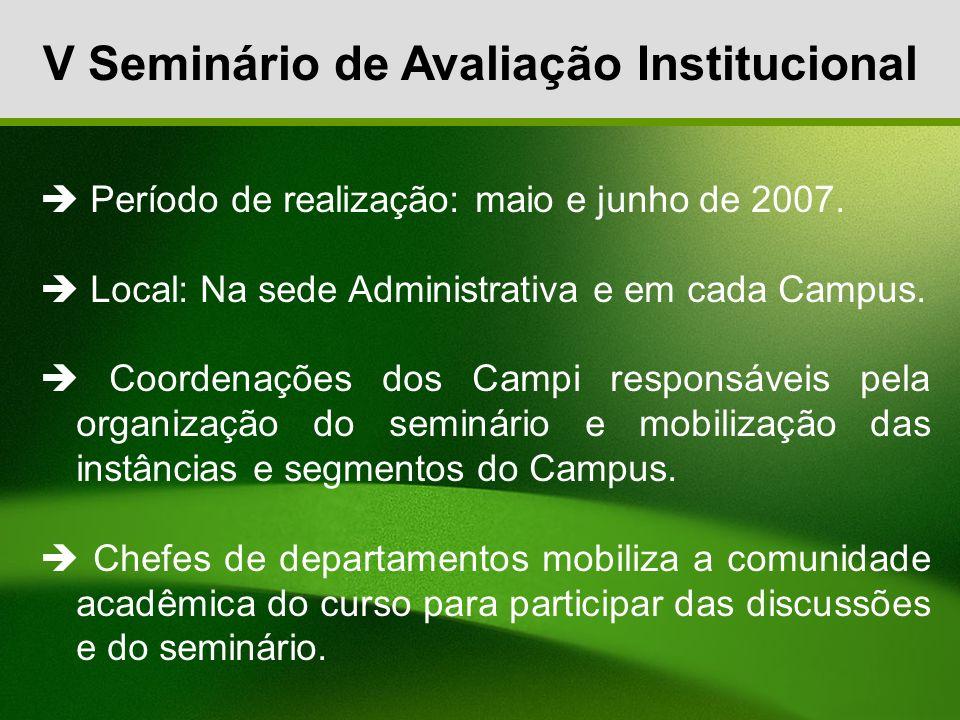 V Seminário de Avaliação Institucional Período de realização: maio e junho de 2007. Local: Na sede Administrativa e em cada Campus. Coordenações dos C