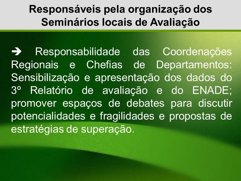 Responsáveis pela organização dos Seminários locais de Avaliação Responsabilidade das Coordenações Regionais e Chefias de Departamentos: Sensibilizaçã