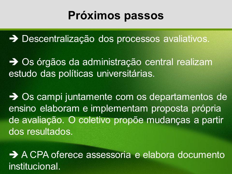Próximos passos Descentralização dos processos avaliativos. Os órgãos da administração central realizam estudo das políticas universitárias. Os campi